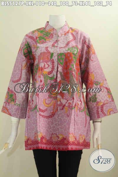 Baju Blus Kerah Shanghai Tanpa Kancing Bahan Batik Printing Warna Girly Banget, Pakaian Batik Dari Solo Harga Terjangkau, Bisa Untuk Santai Dan Formal, Size L – XL