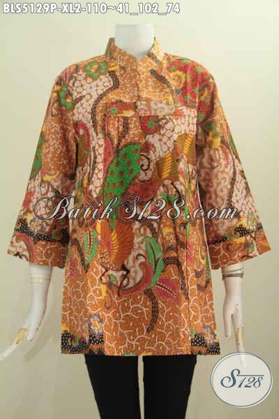 Busana Batik Wanita Dewasa, Baju Batik Elegan Halus Proses Printing Model Kerah Shanghai Berbahan Adem Yang Nyaman Di Pakai, Size XL