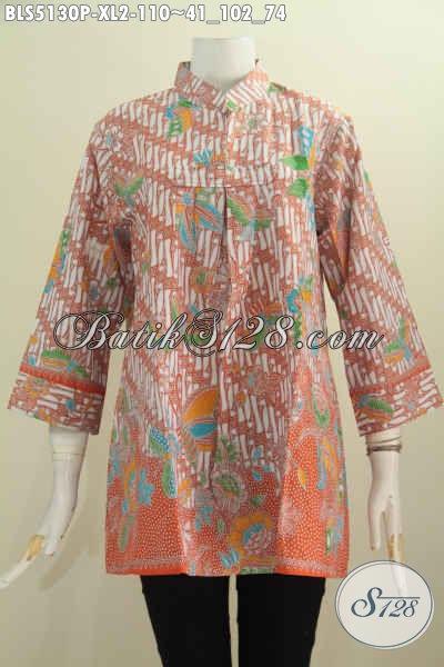 Busana Batik Kerah Shanghai Tanpa Kancing Motif Elegan Warna Oarange, Blus Batik Modis Dan Istimewa Di Jual Dengan Harga Biasa, Size XL