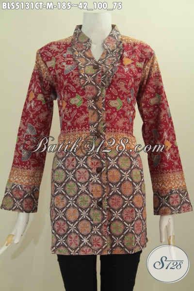 Batik Blus Kwalitas Bagus Model Kerah Shanghai Kancing Depan Lebih Berkelas Dan Mewah, Busana Batik Elegan Cap Tulis Untuk Seragam Kerja Tampil Mempesona, Size M