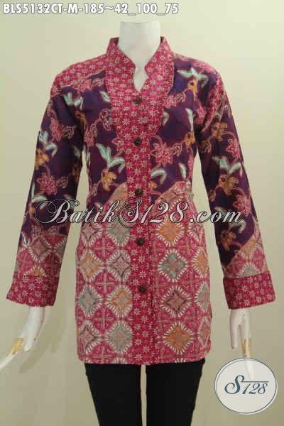 Baju Batik Blus Halus Modis Trend Mode 2016, Pakaian Batik Solo Motif Mewah Cap Tulis Model Kerah Shanghai Kancing Depan Harga 185K, Size M
