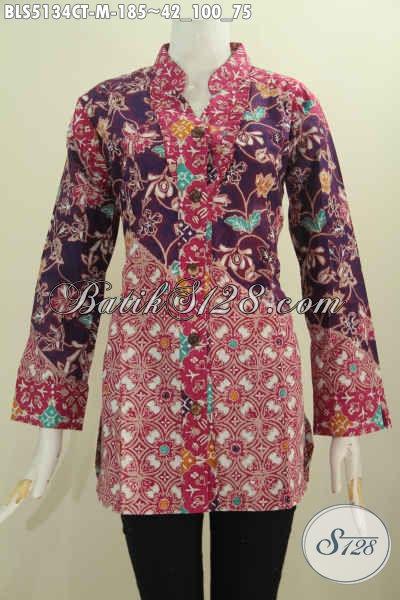 Sedia Busana Batik Terbaru Untuk Wanita Karir, Baju Batik Istimewa Model Kerah Shanghai Kancing Depan Mewah Motif Bagus Cap Tulis Asli Buatan Solo [BLS5134CT-M]