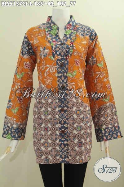 Batik Blus Keren Kwalitas Premium, Baju Batik Solo Cap Tulis Lengan Panjang Model Kerah Shanghai Kancing Depan Istimewa Untuk Seragam Kerja Kantoran [BLS5137CT-L]