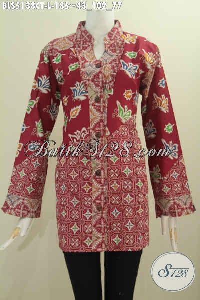 Sedia Pakaian Batik Blus Merah Ukuran L, Baju Batik Wanita Karir Motif Mewah Kerah Shanghai Proses Cap Tulis Pilihan Tepat Untuk Tampil Lebih Sempurna