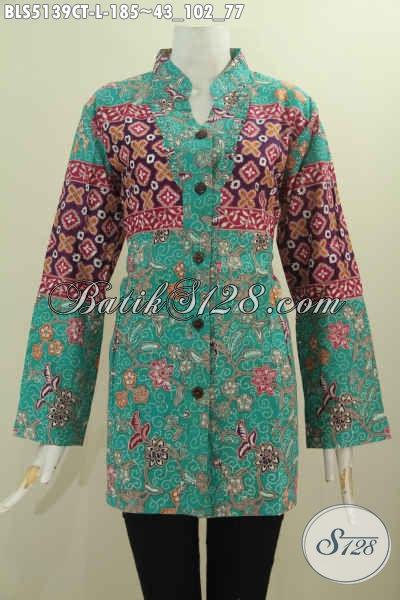 Agen Produk Baju Batik Online, Sedia Blus Size L Kombinasi Dua Motif Proses Cap Tulis Model Kerah Shanghai Kancing Depan Harga 185K