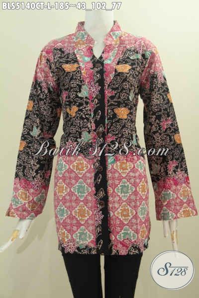 Busana Batik Formal Dengan Kombinasi Mewah Dan Berkelas Proses Cap Tulis, Baju Blus Batik Kerah Shanghai Kancing Depan Untuk Wanita Tampil Istimewa, Size L