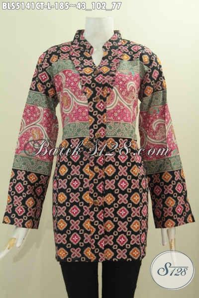 Baju Blus Batik Kerah Shanghai Nan Istimewa, Produk Busana Batik Solo Kancing Depan Motif Bagus Proses Cap Tulis Harga 185K, Size L