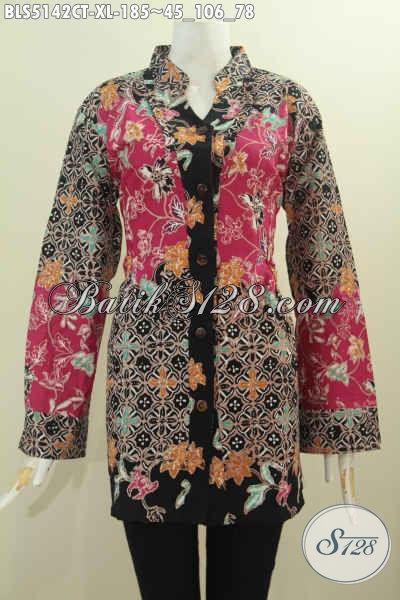 Busana Batik Perempuan Dewasa, Baju Blus Istimewa Bahan Adem Proses Cap Tulis Ukuran XL Motif Kombinasi Kwalitas Premium