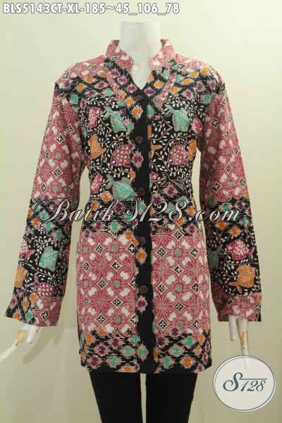Pusat Busana Batik Online Pilihan Komplit, Jual BlusKerah Shanghai Kancing Depan Motif Mewah Cap Tuli Size XL, Cocok Buat Wanita Dewasa Karir Aktif