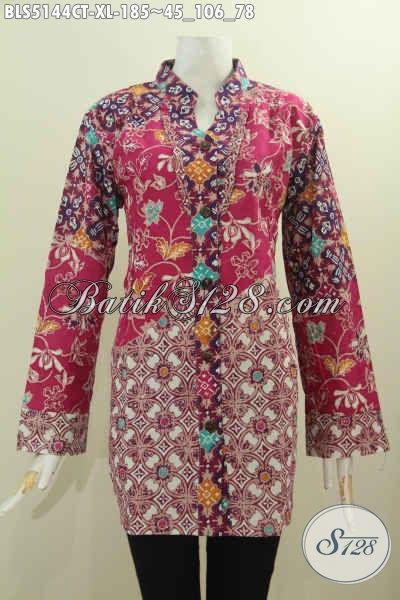 Busana Batik Wanita Dewasa Dengan Nuansa Merah Nan Mewah, Baju Batik Istimewa Berbahan Adem Proses Cap Tulis Model Kerah Shanghai Kancing Depan, Pilihan Tepat Untuk Baju Kerja, Size XL