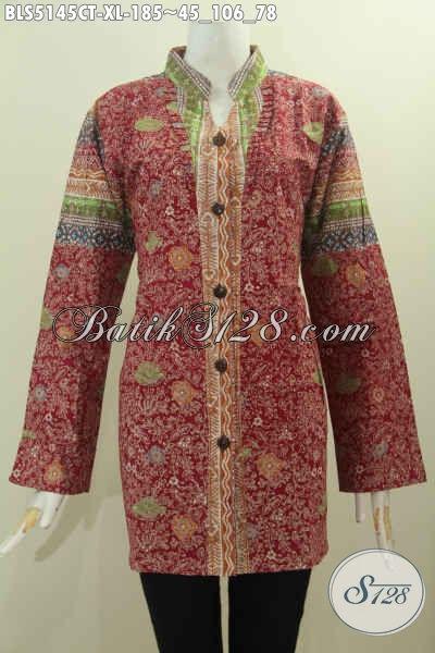 Batik Blus Ukuran XL Buat Wanita Karir Dewasa, Pakaian Batik Perempuan 30 Tahunan Berbahan Halus Model Kerah Shanghai Kancing Depan Lengan Panjang Proses Cap Tulis Di Jual 185K [BLS5145CT-XL]