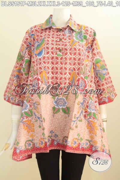 Pakaian Batik Wanita Model A Dengan Kancing Depan, Baju Blus Batik Motif Trendy Berbahan Halus Proses Printing Yang Membuat Wanita Terlihat Modis [BLS5151P-XXL]