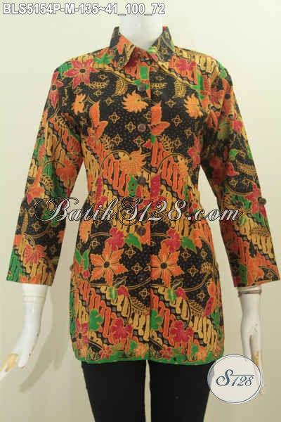 Blus Batik Elegan Model Kerah Kemeja, Pakaian Batik Wanita Untuk Tampil Berkelas Denga Harga Terjangkau, Size M