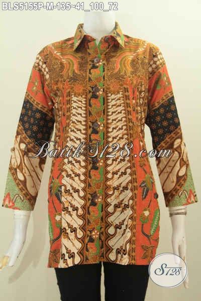 Baju Batik Motif Klasik Proses Printing Model Kerah Kemeja, Busana Batik Printing Untuk Seragam Kerja Terlihat Elegan, Size M