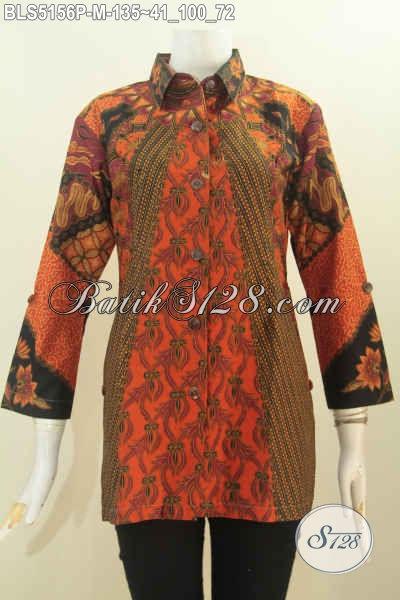 Baju Batik Elegan Desain Mewah Kerah Kemeja, Blus Batik Wanita Size M Berbahan Halus Motif Klasik Proses Printing Tampil Makin Modis