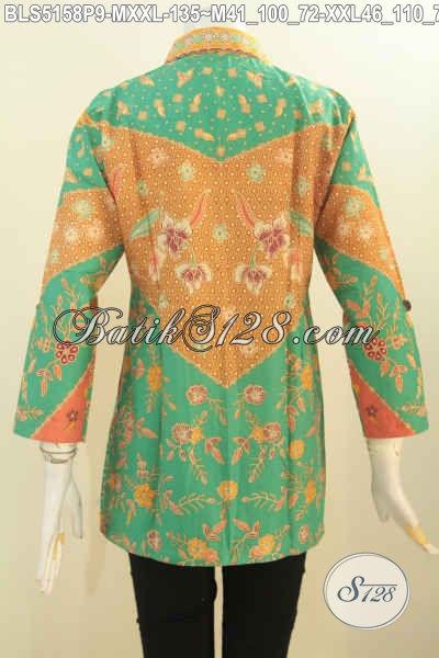 Blus Batik Untuk Wanita Langsing Dan Gemuk, Produk Baju Batik Elegan Kerah Kemeja Bahan Adem Motif Klasik Proses Printing Bikin Penampilan Makin Istimewa, M – XXL