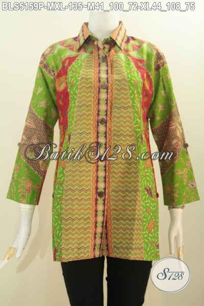 Baju Batik Wanita Muda Dan Dewasa, Produk Blus Batik Klasik Model Kerah Kemeja Bahan Adem Kwalitas Bagus Untuk Penampilan Lebih Berkharisma, Size M – XL