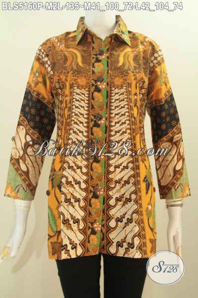 Pusat Busana Batik Online Di Solo, Jual Produk Baju Batik Terbaru Online, Hadir Dengan Model Blus Kerah Kemeja Motif Klasik Proses Printing Harga 100 Ribuan, Size M – L