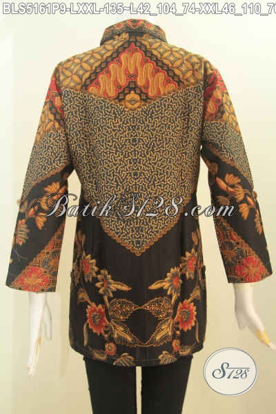 Jual Pakaian Batik Halus Produk Terbaru Dari Solo, Busana Batik Elegan Kerah Kemeja Bahan Adem Motif Klasik Proses Printing, Bikin Penampilan Lebih Feminim Dan Berkelas, Size L – XXL