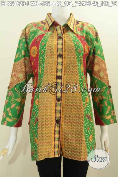 Blus Batik Printing Dengan Nuansa Warna Hijau, Baju Batik Modis Kerah Kemeja Nan Elegan, Berbahan Halus Proses Printing Untuk Terlihat Lebih Cantik Maksimal, Size L – XXL
