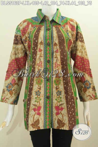 Baju Batik Blus Elegan Modis Dan Mewah, Pakaian Batik Kwalitas Istimewa Harga Terjangkau Motif Klasik Proses Printing Model Kerah Kemeja Harga 135K, Size L – XL