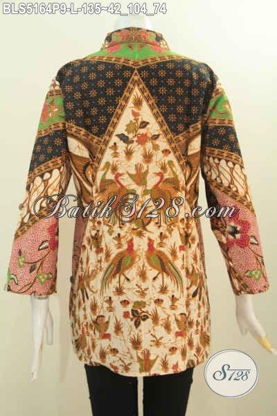 Busana Batik Klasik Elegan Model Kerah Kemeja, Pakaian Batik Kwalitas Bagus Harga Terjangkau, Cocok Buat Kerja Dan Acara Resmi, Size L