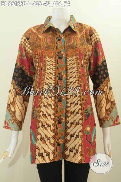 Batik Blus Klasik Ukuran L Desain Mewah Kerah Kemeja, Pakaian Batik Istimewa Berbahan Adem Proses Printing Harga Terjangkau, Pas Untuk Seragam Kerja