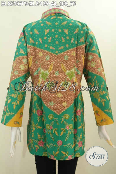 Produk Terkini Busana Batik Wanita Model Kerah Kemeja, Blus Batik Klasik Warna Hijau Proses Printing Harga 130 Ribuan, Size XL