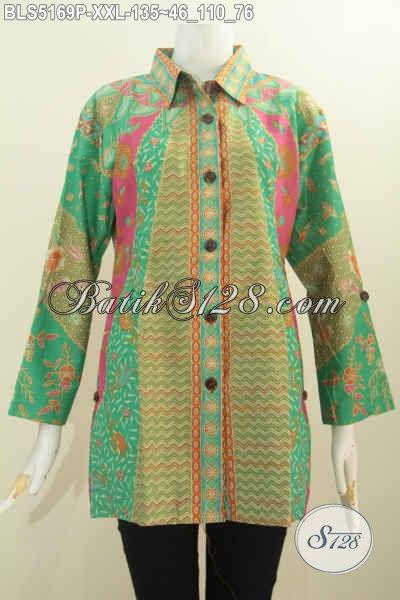 Busana Batik Exclusive Buat Wanita Gemuk, Baju Batik Kerah Kemeja 3L Bahan Halus Motif Klasik Printing Harga 135K, Modis Untuk Seragam Kerja