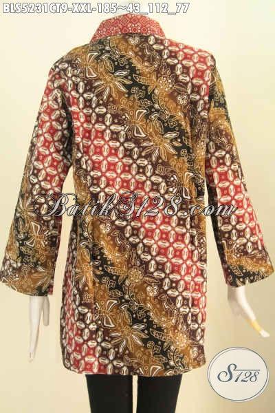 Batik Blus 3L Berbahan Adem, Pakaian Batik Modis Dan Berkelas Motif Kombinasi Proses Cap Tulis Desain Kerah Kotak Untuk Tampil Elegan Dan Premium [BLS5231CT-XXL]