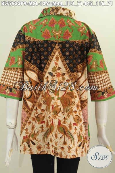 Blus Batik Motif Sinaran, Pakaian Batik ELegan Halus Proses Printing Model Kerah Flui Bulat Harga 130 Ribuan, Size M – L