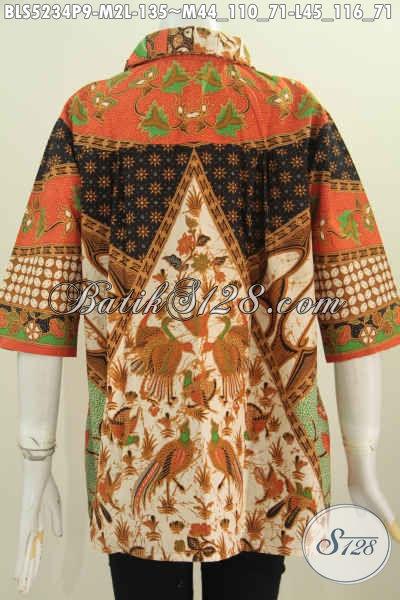 Aneka Pakaian Batik Wanita Muda Dan Dewasa, Baju Batik Halus Proses Printing Motif Sinaran, Hadir Dengan Model Kerah Flui Bulat Tampil Makin Modis [BLS5234P-M]