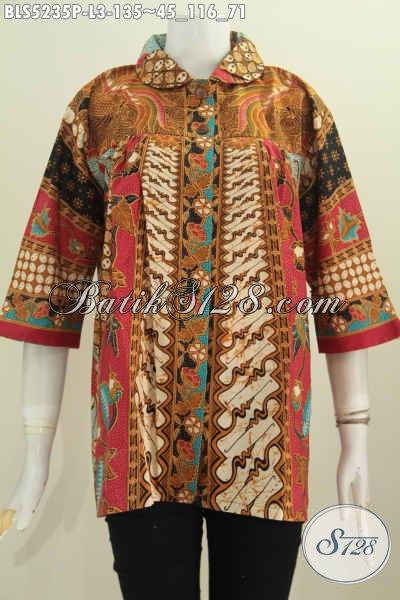 Baju Blus Batik Klasik Ukuran L, Pakaian Batik Istimewa Model Kerah Flui Bulat Motif Sinaran Proses Printing Harga Terjangkau