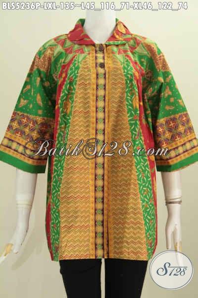 Pakaian Batik Elegan Dan Berkelas, Baju Batik Blus Kerah Flui Bulat Khas Jawa Tengah Bahan Adem Proses Printing Motif Sinaran [BLS5236P-XL]