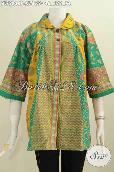 Batik Blus Halus Proses Printing, Busana Batik ELegan Nuansa Hijau Motif Klasik Model Kerah Fluis Bulat Yan Modis Dan Istimewa, Size XL