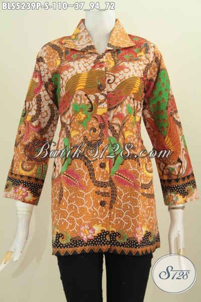 Blus Batik Motif Terbaru Model Kerah Flui Bulat, Baju Batik Printing Solo Baut Wanita Muda Tampil Terlihat Matang [BLS5239P-S]