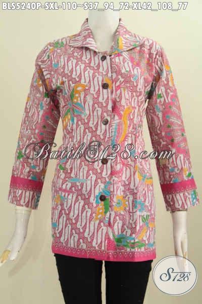 Batik Blus Klasik Kerah Kotak Warna Pink, Busana Batik Modern Etnik Berbhan Halus Proses Printing Untuk Kerja Dan Pesta, Size S – XL