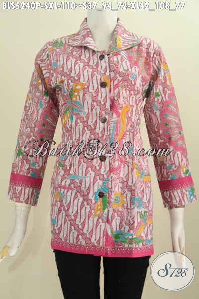 Baju Blus Batik Printing Kerah Kotak Warna Merah Jambu Motif Kombinasi Klasik Dan Modern Yang Bikin Penampilan Lebih Feminim Dan Gaya [BLS5240P-XL]