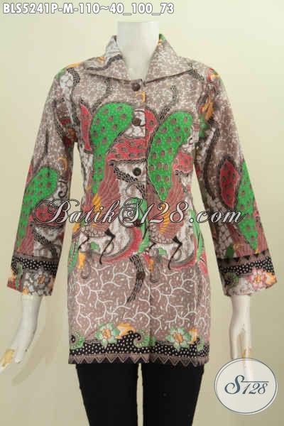 Jual Online Busana Batik Blus Elegan Motif Mewah Proses Printing Model Kerah Kotak Bahan Adem Untuk Wanita Terlihat Sempurna, Size M