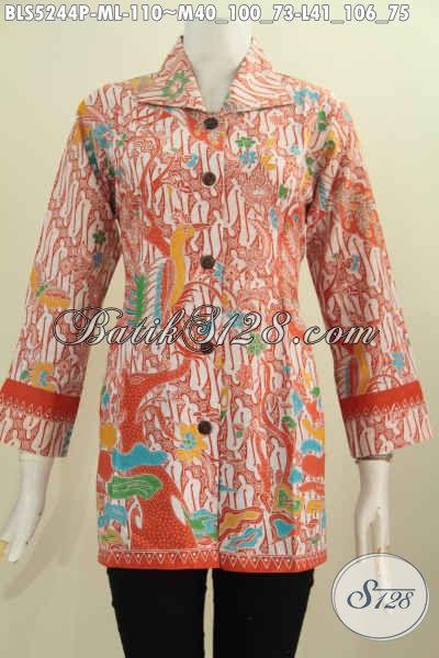Jual Pakaian Batik Formal Modern Klasik, Baju Batik Blus Kerah Kotak Istimewa Buatan Solo Proses Printing Mewah Hanya 110K, Size  L
