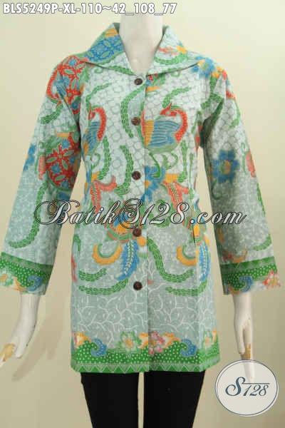 Batik Blus Halus Model Kerah Kotak Motif Terkini Proses Printing, Pakaian Batik Fashion Yang Bikin Cewek Terlihat Cantik Mempesona [BLS5249P-XL]