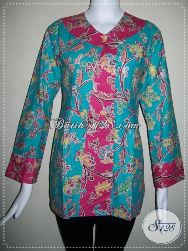 Baju Batik Wanita Kombinasi Warna Hijau Dan Merah Batik