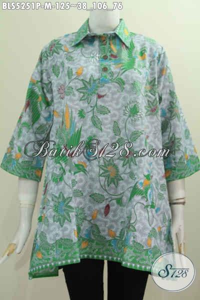 Baju Blus Atasan Kerah Model A, Busana Batik Keren Motif Terbaru Lebih Keren Dan Bergaya, Bahan Halus Proses Printing Untuk Wanita Muda Harga 125K [BLS5251P-M]