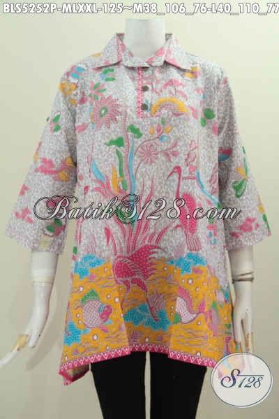 Pakaian Batik Modern Untuk Wanita, Baju Blus Kancing Depan Model A Motif Bunga Proses Printing Tampil Lebih Feminim, Size M – L – XXL