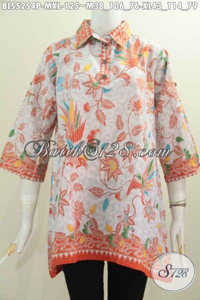 Pakaian Batik Blus Model A, Busana Batik Wanita Kancing Depan Warna Cerah Motif Bunga Proses Printing Untuk Penampilan Lebih Keren, Size M – XL