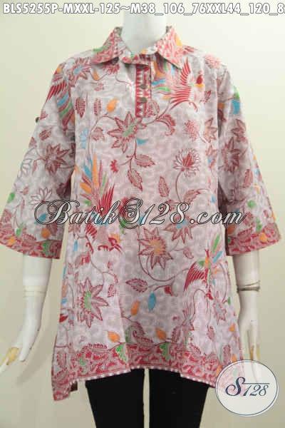 Baju Blus Batik Trendy, Pakaian Batik Solo Jawa Tengah Berbahan Adem Proses Printing Model A Kancing Depan Ukuran M Dan XXL