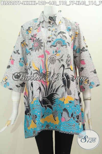 Batik Blus Proses Printing, Busana Batik Model A Kancing Depan Motif Keren Bahan Adem Nyaman Di Pakai, Size L – XL – XXL