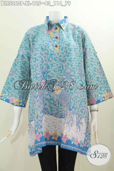 Busana Batik Wanita Dewasa, Baju Blus Kancing Depan Motif Printing Dengan Kerah Model A Untuk Penampilan Lebih Trendy Dan Gaya Mempesona [BLS5260P-XL]
