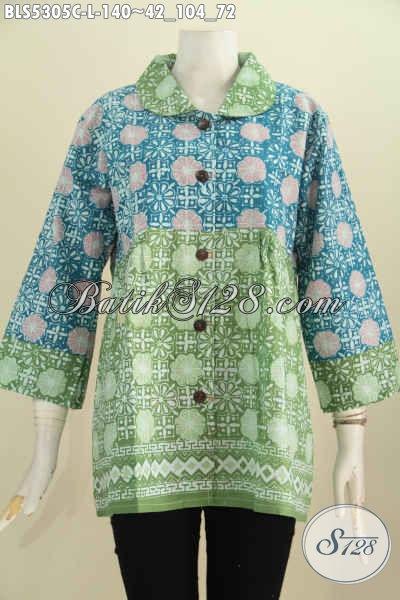 Baju Batik Kerah Bulat Dua Warna Blus Batik Keren Motif
