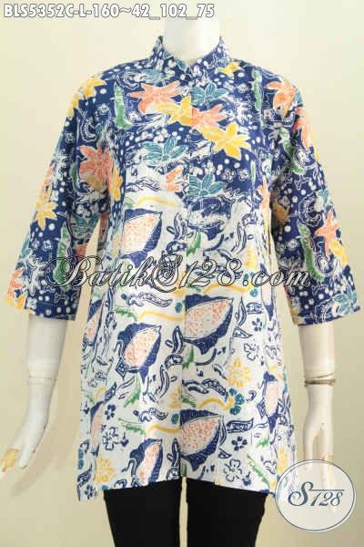 Produk Baju Batik Untuk Wanita Karir, Busana Blus Batik Kerah Shanghai Motif Terkini Proses Cap Di Jual Online 160 Ribu [BLS5352C-L]